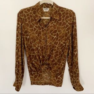 Vintage | Giraffe Print Blouse